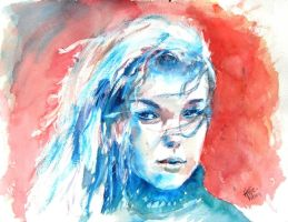 watercolour girl by psycopix