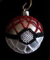 Beaded Pokeball Ornament by pinkythepink