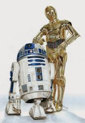 R2D2 and C3PO (drawing) by Quelchii