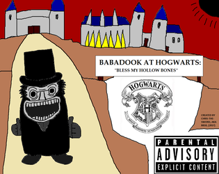 Babadook Goes At Hogwarts: Metal Album Cover by chris-the-sword