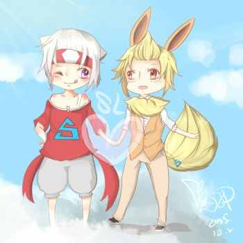 Sande and Lan (Humanized Latias and Flareon) by Cysime