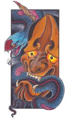 Snake And Hannya by jbtattoo