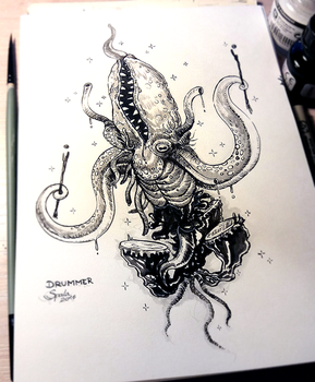 INKTOBER #10 - Drummer of Azathoth by hubertspala