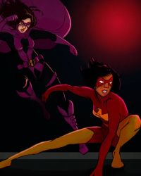 Huntress and Flamebird by lorainesammy