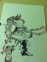 Kratos Sketch (Before coloring) by ShakRC