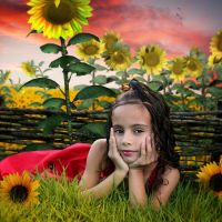 Girl and sunflowers by Alena-48
