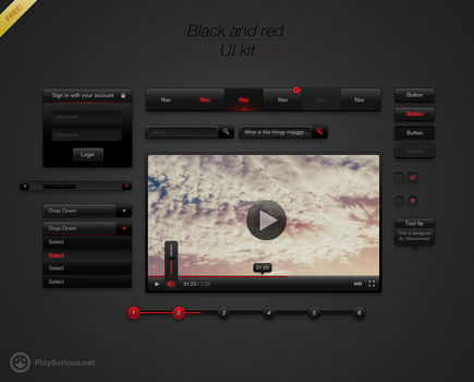 Black and red UI Kit by neme313