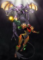 Samus vs Ridley by JAG-Comics