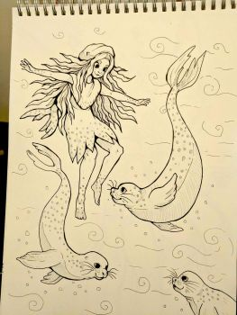 Inktober Day 14 - Selkie by SarahRichford