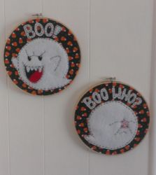 Boo embroidery hoops by Throughawolfseyes