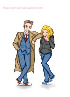Doctor 10 and Rose by VassHappenin