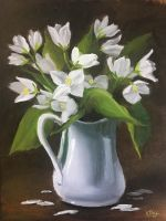 Apple Blossoms in Water Pitcher by justanothercreator