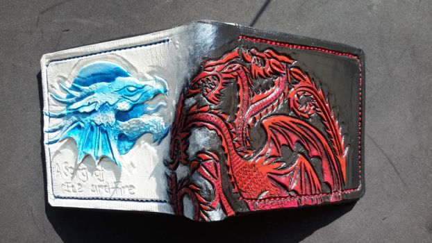 Targaryen and frost dragon leather wallet by Bubblypies