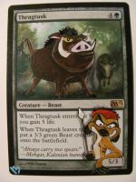 Mtg alter: Thragtusk Timon and Pumba by OhMaiAlters