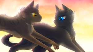 Crowfeather and Leafpool by Frostedlleaf