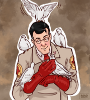 Medic with his pigeons by Madzeratti