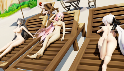 [MMD] Nudist Beach by AnyaJackal1