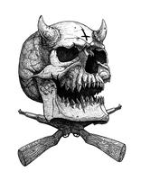 Devil Skull with guns by DariusM1993