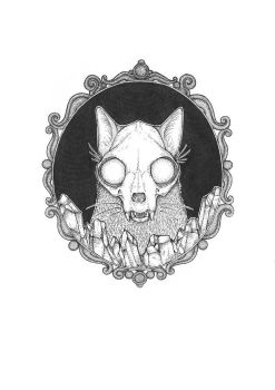 Framed Cat Skull and Crystals by Knelsonsc