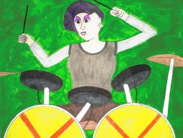 She's ''Wilde'' on the drums! by Mr-Pink-Rose