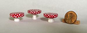 Mini Mushroom Cake Stands - One Inch Scale by Kyle-Lefort