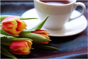 tulips and tea by ElaynaTeos