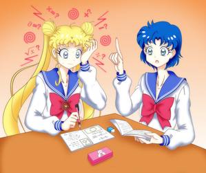 Usagi and Ami  Study Session. by GrandZebulon