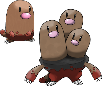 Diglett and Dugtrio (Surface Forms) by Marix20