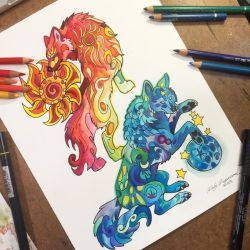 Sun and Moon Wolves by Lucky978