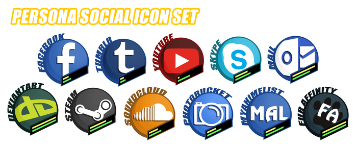 [F2U]Persona Social Icon Set by StarriiChan