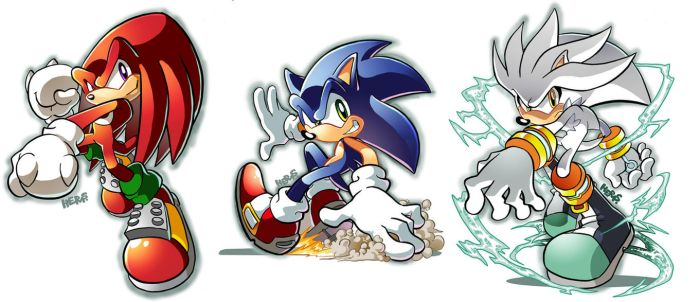 Knux, Sonic, Silver by herms85