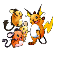 Dedenne and Raichu by Bestary