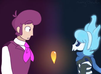 Human Lewis and Ghost Vivi by ninnymuffin