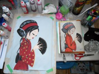 Asian Lady Painting: WIP #4 by kayanah