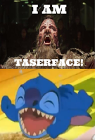 Stitch laughing at Taserface by Negaboss2000