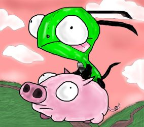 Gir Rides the Piggy by PlagueDogs123