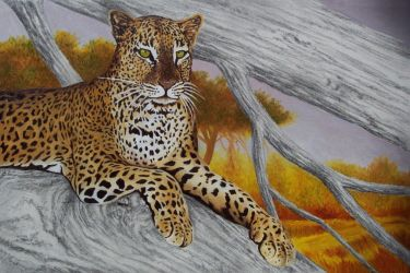 Leopard painting W.I.P.  III by HOULY1970