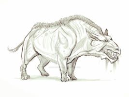 another creature sketch - hell rhino by izzyleidlwilson
