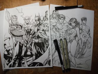 Justice League - Hand inking (W.I.P.) by J-Skipper