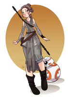 Rey and BB8 by lufidelis