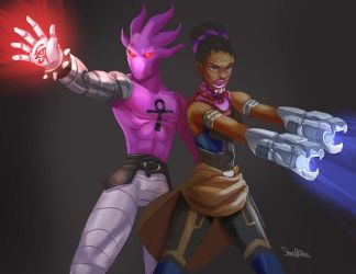 Kid Glyph and Shuri by SteveMillersArt