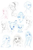 Disney inspired sketches by vanora13