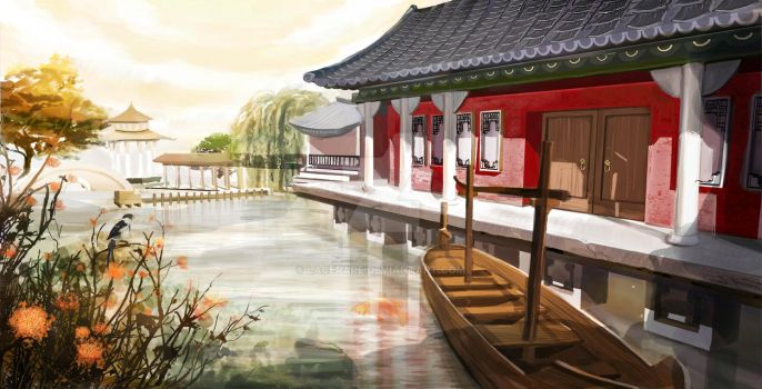 Chinese lake house by Lacerare