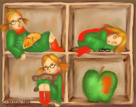 Box with 3 ligreeg and 1 apple by ligreego