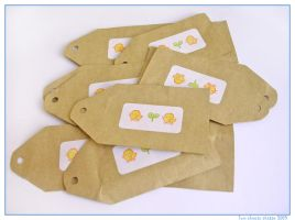 Chicken stamped gift tags by restlesswillow