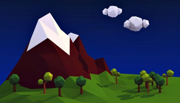 Low Poly es 1 Landscape Blender v2.77 by Lazzarona