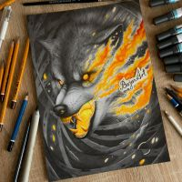 Angry wolf drawing by Bajan-Art