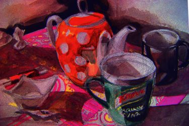 Still life with orange teapot by AskarovRoman