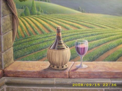 Close-up wine bottle and glass by MuralsbyLeBold