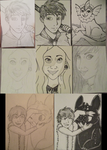 Portraits and Inktober traditional drawings by Tailsandtunes